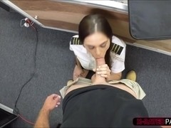 Hot stewardess gets plowed by pawn guy so she bends and fucks wild and hard
