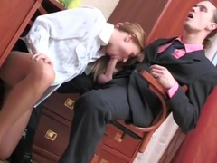 Secretary fucked and facialed in tights