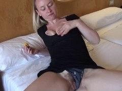 German gal with heavy bawdy cleft masturbating