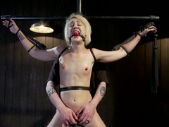 Tall blonde slut suffers from nipple torture, sadistic beatings, and extreme squirting orgasms