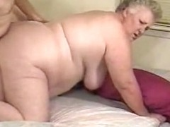Fat granny with grey hair gets her pussy filled with young dick