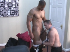 Muscular office boss Brenden Cage gets bj