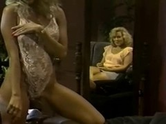 Retro blonde stripping then engages in hot lesbian sex
