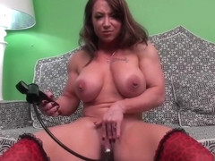 Sultry brunette ashli orion uses a dildo to masturbate