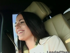 Slim teen beauty fucks pov in the car in public