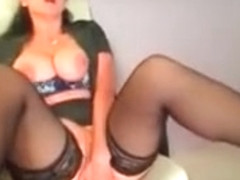 Busty milf brunette massage pussy on webcam