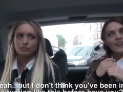 Uniformed hitchhiking russians blow driver