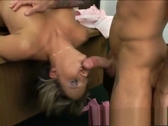 Insatiable blonde with big boobs enjoys rough anal sex in the office