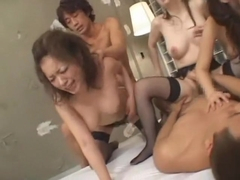 Fabulous Japanese chick Yuu Urumi, Yuuri Nanase, Mirai Koda in Best Stockings, Group Sex JAV clip