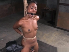 Whipped Ebony Sub Gets Suspended By Maledom
