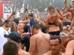 Topless Girls at Open Air Disco