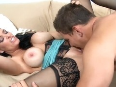 Crazy brunette in stockings gets a dick in her juicy holes