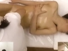 Cute asian slut fingered hard by her hot massage girl