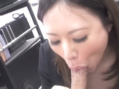 Ritsuko Tachibana sucks cock at her first office day