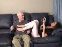 Old boldy has a fetish for his young GF.s feet