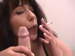 Mommy gives son a sloppy smoking blowjob
