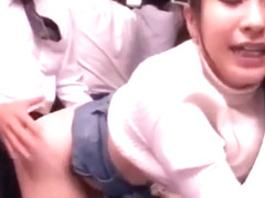 Asian school girl rough sex on train with stranger