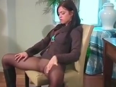 Cute Face Brunette Secretary Stripping