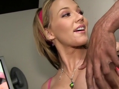 Blonde bombshell sucks BBC at gloryhole