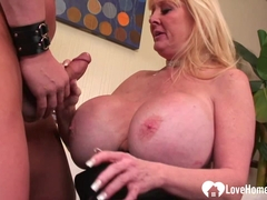 Blonde with massive tits gets nailed hard