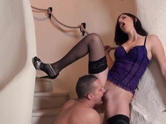 Dirty brunette slut Mira enjoys in passionate licking