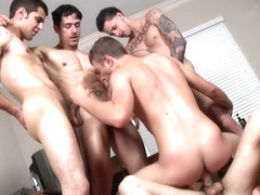Well hung hunks giving bukkake cumshot