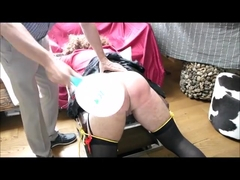 Real hard crossdresser spanking