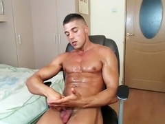 Juicy poof is jerking within doors and shooting himself on camera