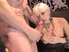 Blonde babe gets a mouthful of cock