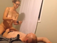 Frumpy wife in glasses rides hubby