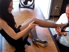 Office Black Pantyhose Footjob 1