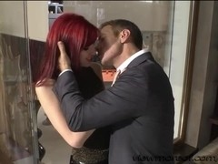 Horny stud Rocco bangs hard his slutty hot girls on the couch