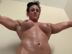 Ripped Naked Female Bodybuilder Plays in the Bathtub