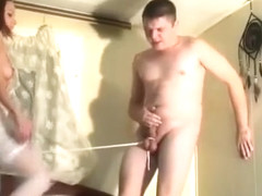 Brunette ballbusting strings