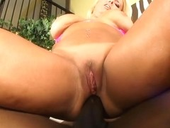 Alexis Golden sucks dark jock and receives her vagina and booty screwed and cum filled