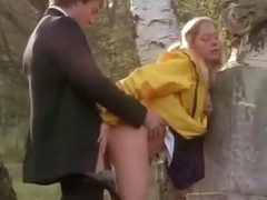Kinky blonde chick doggystyle fucked in public