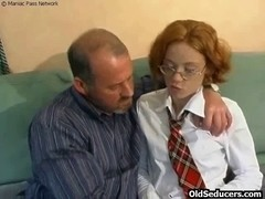 Legal Age Teenager redhead taking old shlong