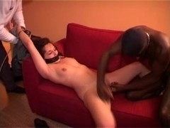 Blonde sweetie fucking with two black French guys