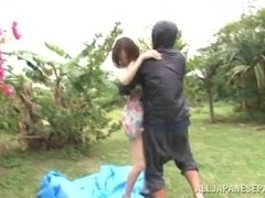 Kana Narimiya hot Asian milf on outdoor sex action