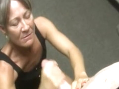 Cougar Amateur Wanking Dick In Her Office