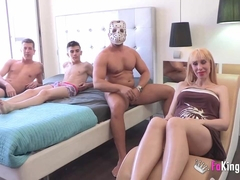 Pregnant Russian cleaning lady licks clean Jordi and his friend's cocks
