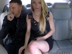 Teen fucks in back seat for free ride