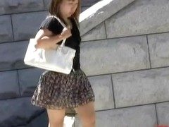 Fat Asian babe gets molested by nasty skirt sharking.